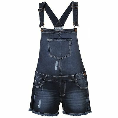 WOMENS LADIES DENIM JEANS DUNGAREE GIRLS SHORTS DRESS JUMPSUIT STRETCH PLAYSUIT
