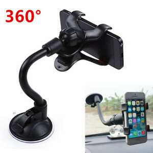 Car Windshield Mount Clip  Black Holder For Cell Phone iPhone Sucker Fixed 360°