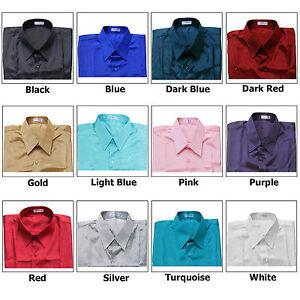 Shirt-Mens-Thai-Silk-S-M-L-XL-2XL-Short-or-Long-Sleeve-Dress-Casual-Formal