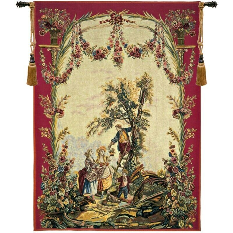 Le temps des cerises (Cherry Time) French Tapestry Wall Hanging H 56  x W 40