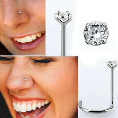 CZ CRYSTAL STERLING SILVER 925 /'BEND IT YOURSELF/' NOSE STUD 1.5mm