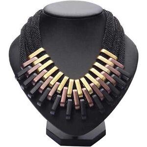 Collana-DONNA-in-3-colori-in-Plastica-GEOMETRICA-Gold-Bronzo-Nero-Elegante-Moda