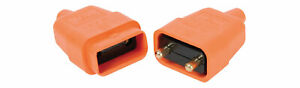 2-Pin-Orange-Rubber-Plug-and-Socket-Power-Connector-10A-In-Line-For-Lawnmower