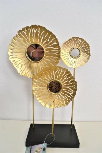 Metalldeko Metallblumen mit Spiegel und Ständer 40 cm gold schwarz Fensterdeko