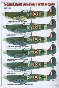AML Calcomanías 1/72 Supermarine Spitfire Mk. Ia / Vb Con Dibujos De 313th Raf