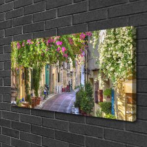 Photo sur toile Image Tableau Impression 100x50 Floral Ruelle Maisons