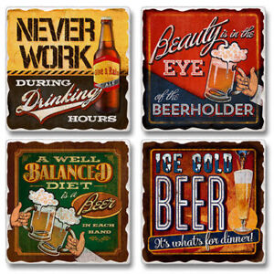 Mixed-Absorbent-Stone-Coasters-Set-of-4-Never-Work-During-Drinking-Hours-Beer