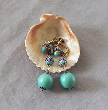 Vintage Art Deco Chinese Silver Gilt Enamel Drop Dangle Turquoise Earrings