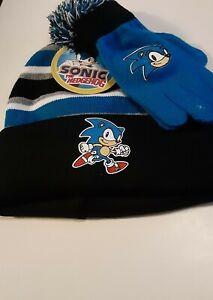 Sonic-the-Hedgehog-Boys-Beanie-amp-Gloves-Set-Christmas-Gift-New-Stripes-Kids