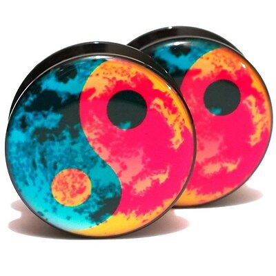 Pair Acrylic Ear Plugs Screw Gauges Flesh Tunnels Earrings - Water Fire Yin Yang