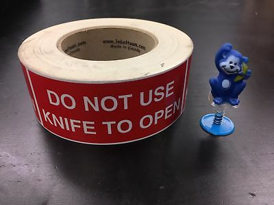 """3/"""" by 5/"""" Black /""""Do Not Use Blades to Open/"""" Labels Stickers 500 ct Roll Red"""