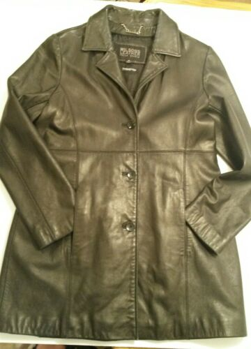 Womens Studio Pelle Coat Blazer Læderbeklædt Vtg Wilsons Jacket Lined Sort M zZqx5wnTE