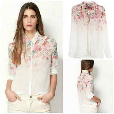 Ladies button down floral long sleeved chiffon shirt blouse