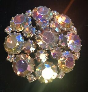 Vintage Aurora Borealis Brooch Brooch Aurora Borealis Round Crystal Brooch Crystal Brooch Small Aurora Borealis Brooch