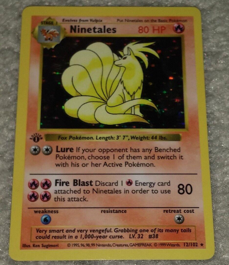 Ninetales 12 102 1st Edition First Ed Base Base Base Set Ultra Rare Holo Pokemon Card 18345c
