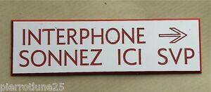 """Plaque Gravée """"interphone Sonnez Ici Svp + Fleche"""" Ft 70x200 Mm Les Commandes Sont Les Bienvenues."""