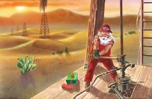 Texas Christmas Cards.Details About 12 Merry Christmas Cards Santa Caps Gulf Oil Well Houston Dallas Texas Oklahoma