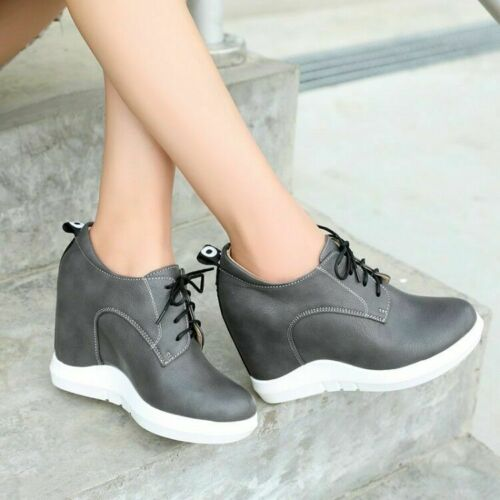 Womens Roman Round Toe Platform Hidden Heels Lace Up Ankle Boots Shoes Mgbox