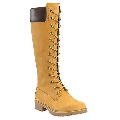 Women's Timberland 14-Inch Premium Side-Zip Lace Waterproof Boot Wheat 8633A