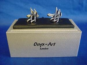 English Made Pewter Cufflinks Music Quaver Notes Presented in a Box
