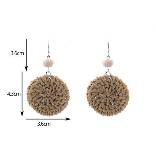 Fashion Boho Straw Rattan Woven Earrings Geometric Dangle Ear Stud Jewelry Gi ZT