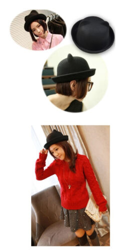Cute Derby Hat red Vintage Trendy Soft Uk Bowler Ears wine Hay no Navy  black Fashion Existencias Women s beige Cat Existencias Lady Vogue ... b41a6171b0b5