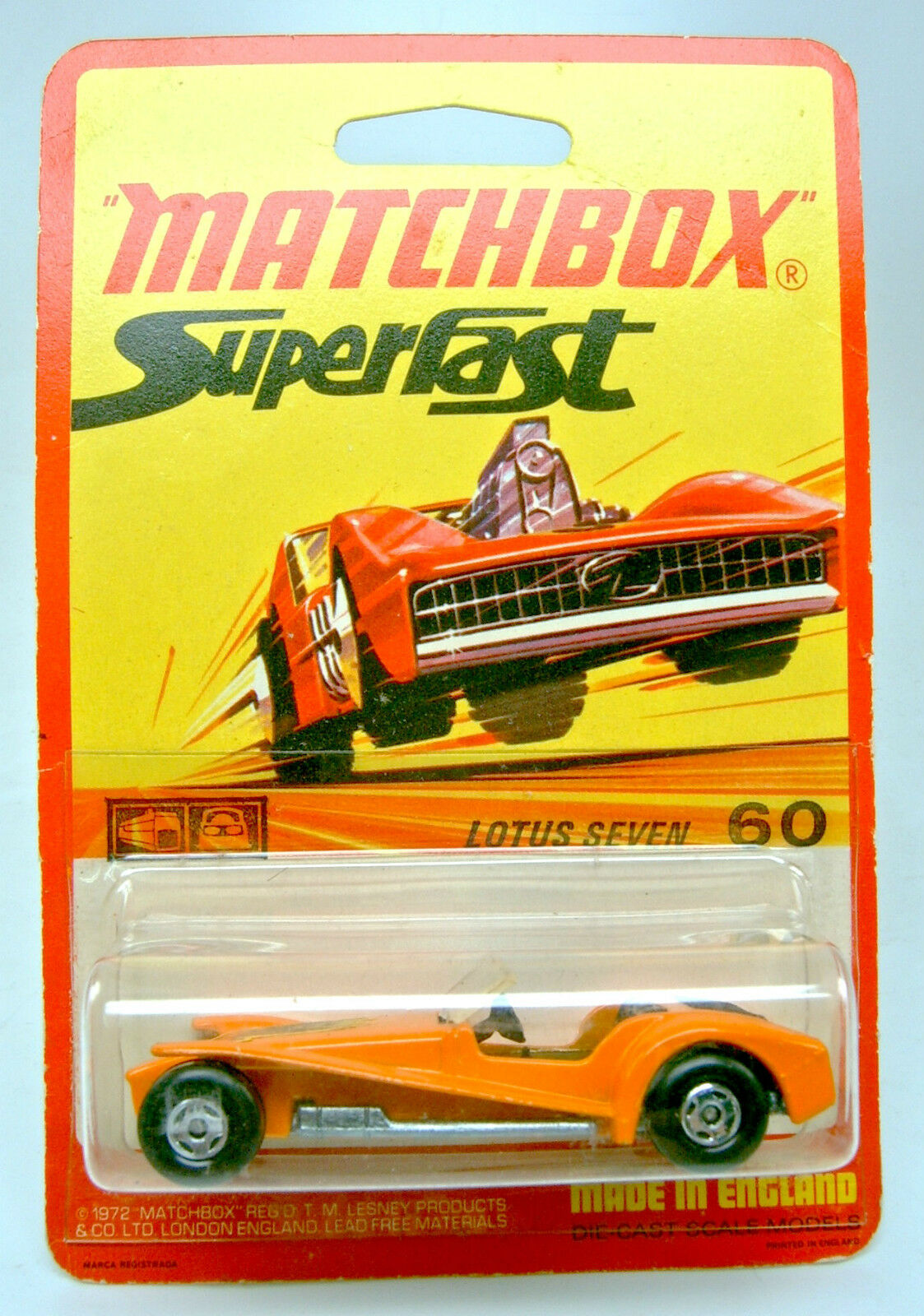 MATCHBOX superfast Nº 60b Lotus super 7 Orange sur écotoxicologiques 1972 étui.