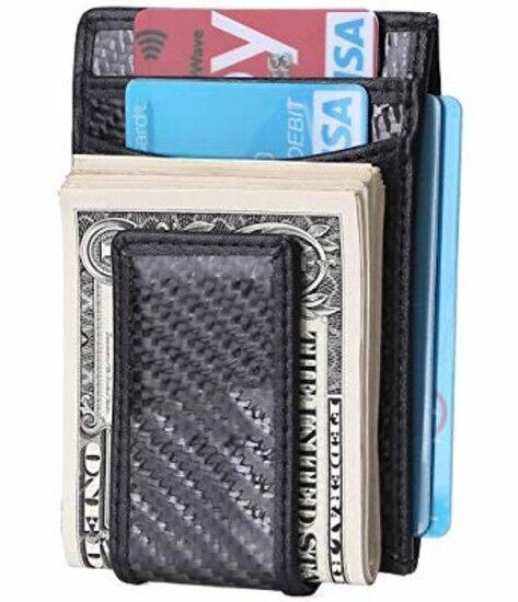 b9689383c78 Carbon Fiber Money Clip RFID Mens Slim Wallet Strong Front back Magnetic  Pocket for sale online