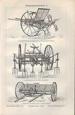 Lithografie 1906 Heu-Ernte-Maschinen. Mähmaschine Rasen-Mäher Getreide Gras