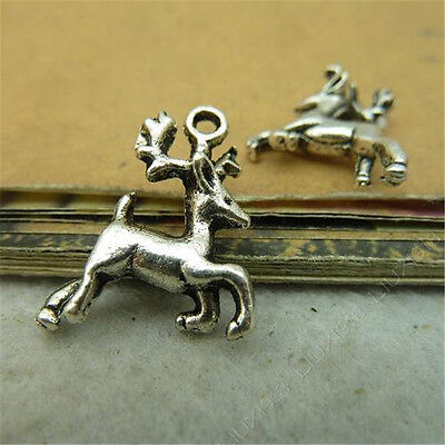 Reindeer Charm//Pendant Tibetan Antique Silver 23mm  10 Charms Accessory Crafts