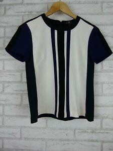 Cue-Top-Blouse-Black-Purple-Navy-Blue-White-Stripe-Print-Exposed-Zip-Sz-8