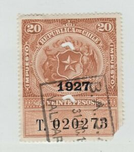 Chile-Revenue-Fiscal-stamp-3-2-as-seen-punch-cancel-corner-fault-20pesos-1927
