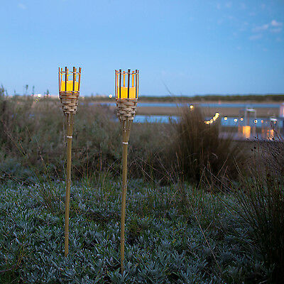 Pair of Bamboo Tiki Torch Garden Stake Lights with Battery Operated LED Candles