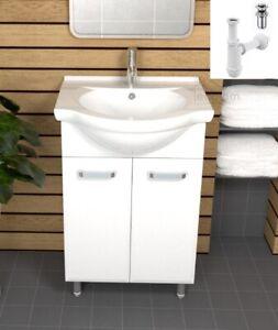 Details zu Badmöbel Waschbecken 55 cm Unterschrank 2 x Türen weiß +/-  Siphon Click Clack AR