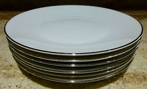 SET OF 6 - ROSENTHAL - CLASSIC PLATINUM - SALAD PLATES - 7 1/2 INCHES
