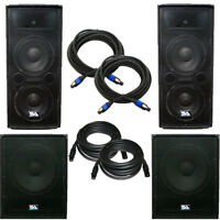 Pair Of Dual 12 Pa Speakers, Pair Of Powered 18 Subs,& Cables - Pa/dj Package on Sale