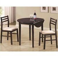 3 Piece Dining Set , Drop Down Leaf Furniture Kitchen Sunroom Breakfast Table on sale