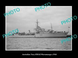 OLD-LARGE-HISTORIC-AUSTRALIAN-NAVY-PHOTO-OF-THE-HMAS-WARRAMUNGA-SHIP-c1946