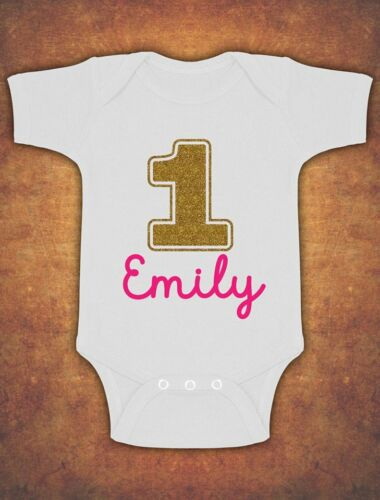 Personalised My First 1st Birthday  Baby Kids  Body Suit Vest Glitter Gold Girl