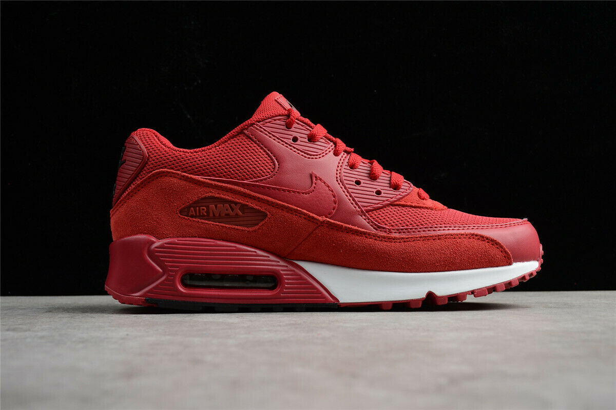 Sz 10 NIKE AIR MAX 90 ESSENTIAL GYM RED BLACK WHITE RUNNING TRAIN 537384-604 DS