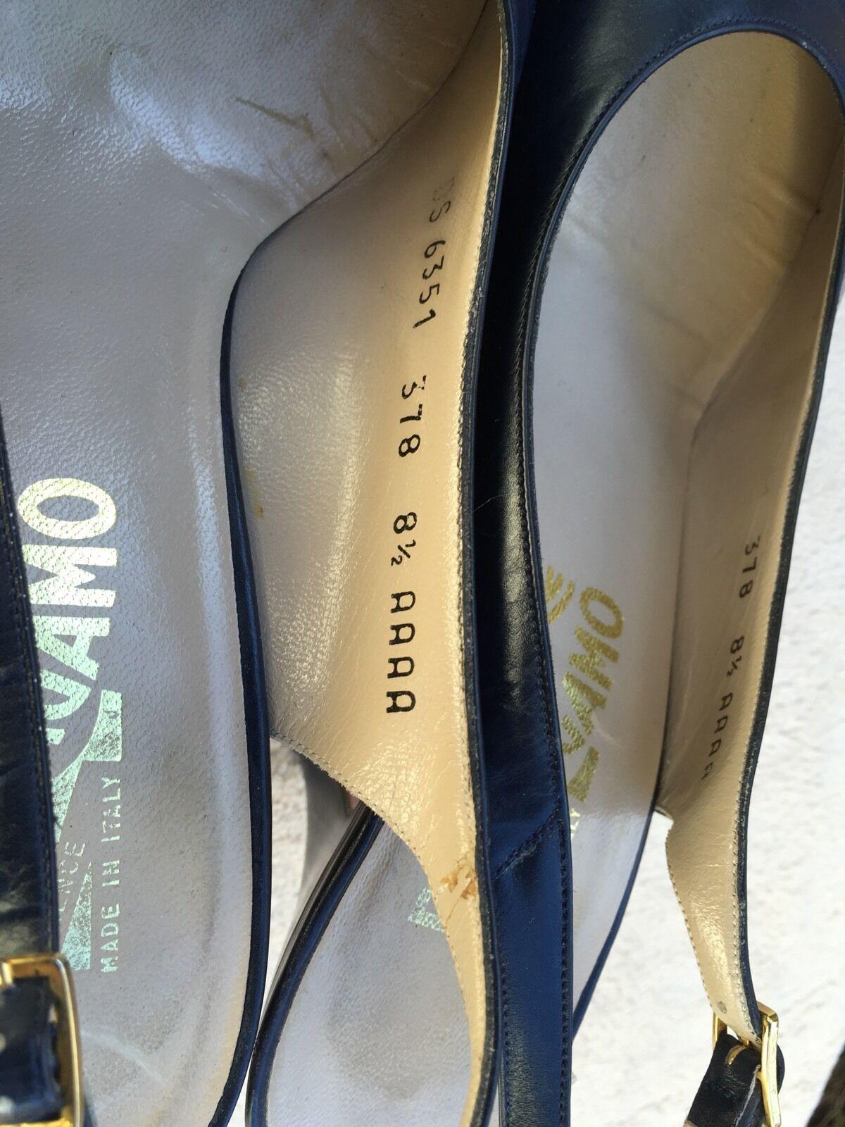 Salvatore Ferragamo Blau Aligator Leder Round AAAA Toe Slingback Größe 8.5 AAAA Round 0db9ba