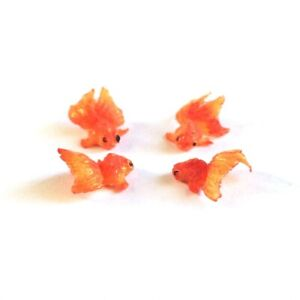 10Pieces Fairy Garden Dollhouse Gold Fish Goldfish Miniature Resin Orange