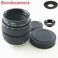 """C Mount 35mm F/1.7 CCTV 2/3"""" Lens for Sony NEX E mount Camera A6000 7 + adapter"""