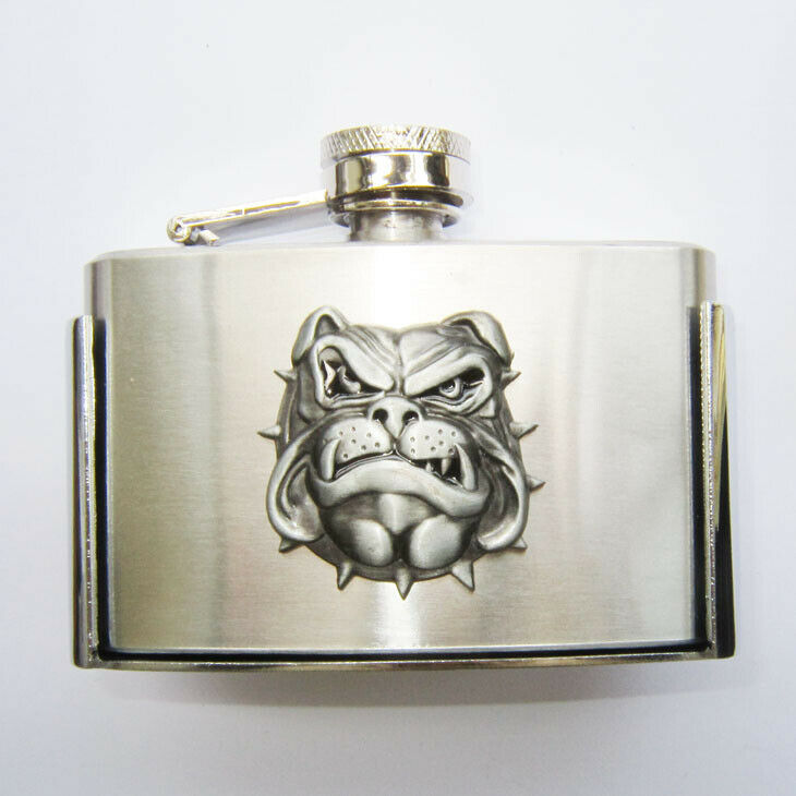 3oz. Bull Dog Stainless Steel Flask Metal Removable Concealed Belt Buckle