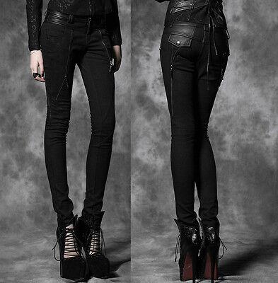 Gothic Punk Rave Hose Damen Roehrenhosen schwarz black pants hauteng Baumwolle