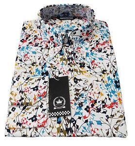 Relco-Blanco-Multicolor-100-Algodon-Manga-Larga-Retro-Mod-con-Botones-Camisas