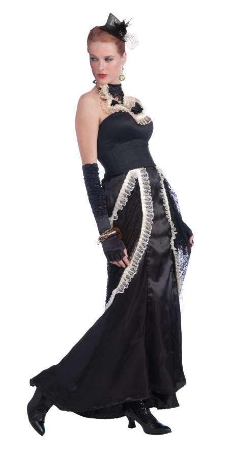 Victorian Era Skirt Steampunk Black Satin & Lace Ladies Long Costume Skirt