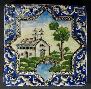Antik-islamische-Qajar-Sternformige-Relief-Keramik-Fliese-Kachel-islamic-Tile-F