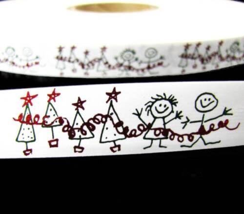 "10 Yards Christmas Kids Drawing Child Coloring Acetate Ribbon 3//4/""W"