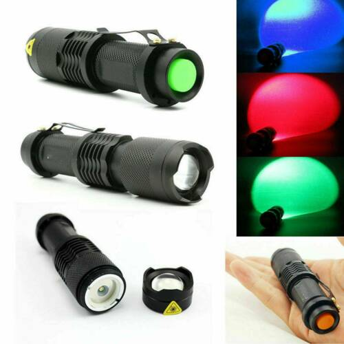 Red Blue Green UV LED Flashlight Lamp Hunting Tactical Torch Lamp Night Vision